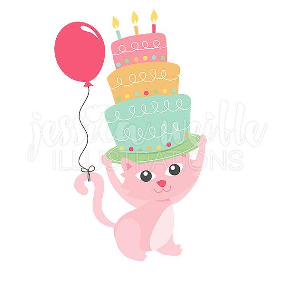 570x570 Happy Birthday Kitty Clip Art, Cute Digital Clipart, Birthday Cat