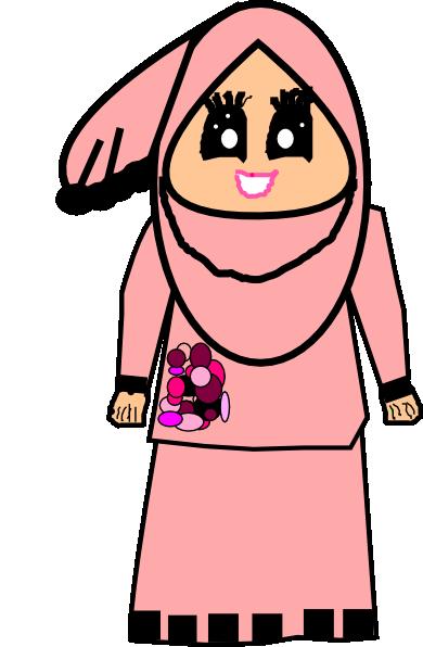 390x596 Muslimah Doodle Raya Clip Art