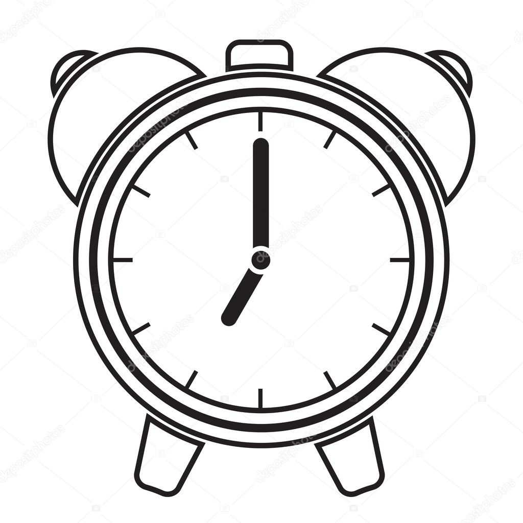 1024x1024 Alarm Clock Black And White Clipart