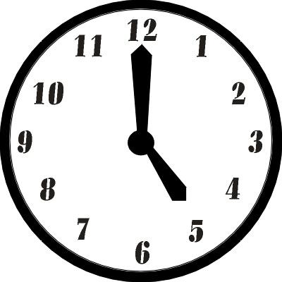 400x400 Clock Clipart 5pm
