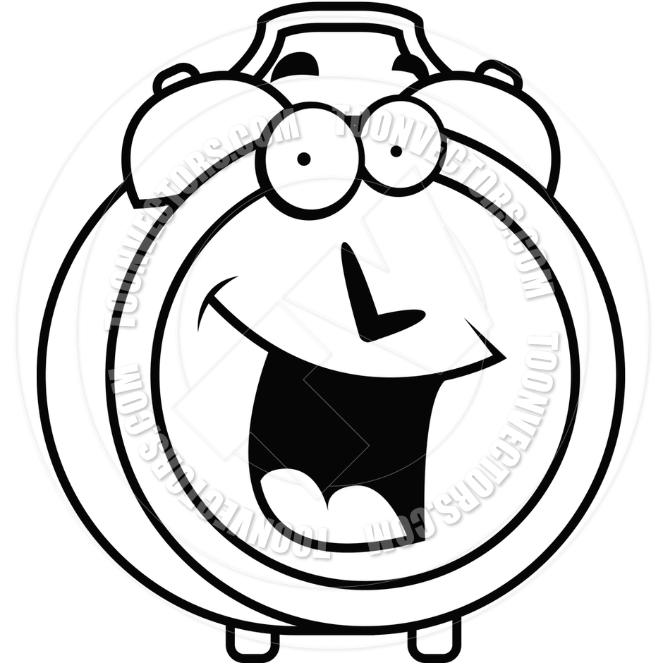 940x940 Alarm Clock Smiling (Black And White Line Art) By Cory Thoman