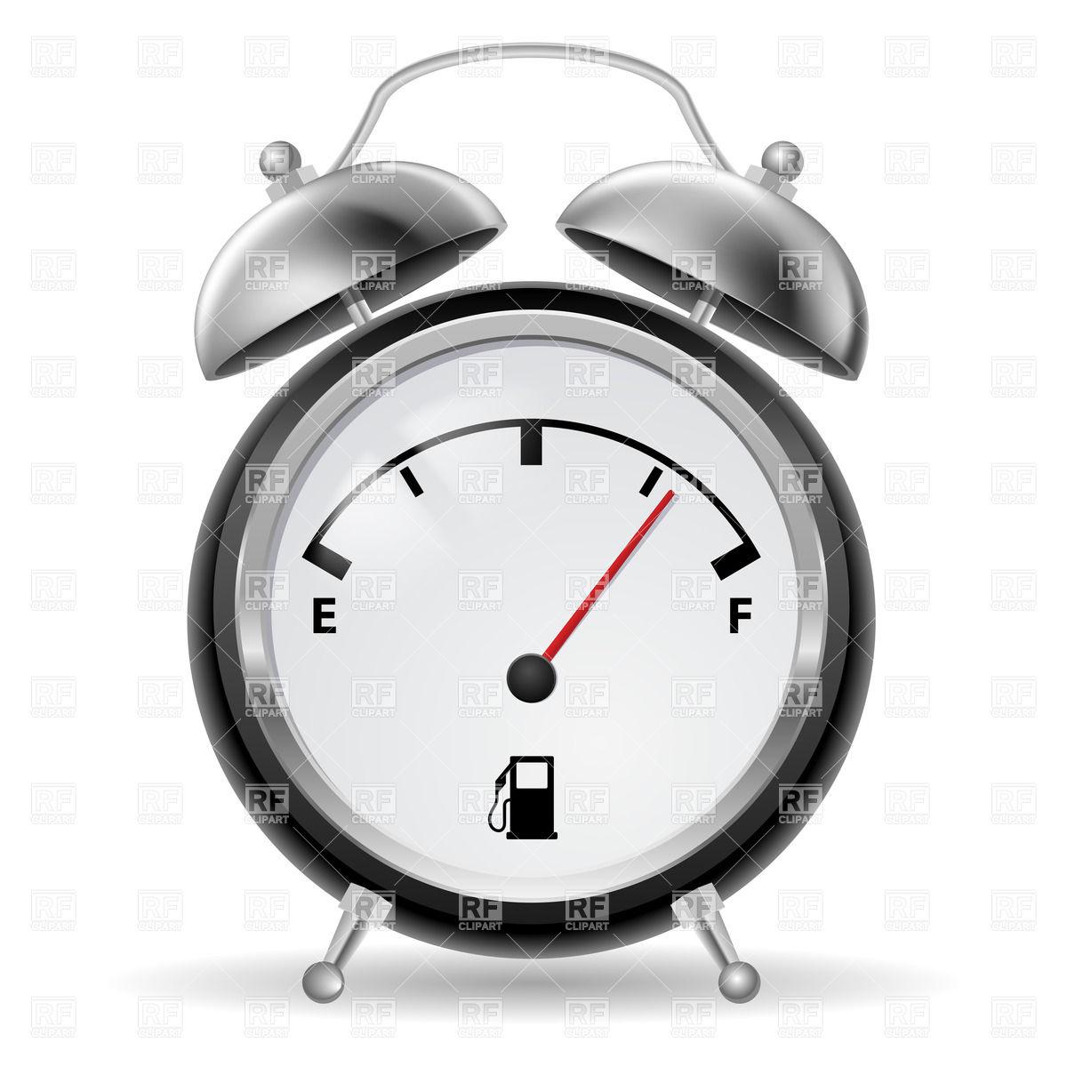 1200x1200 Black And White Fuel Indicator In Retro Alarm Clock Royalty Free