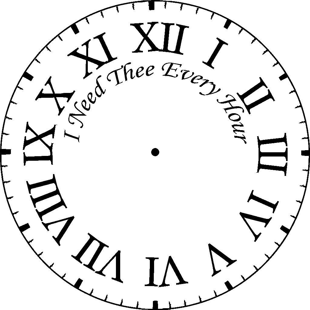 image relating to Roman Numeral Stencil Printable called Clock Facial area Clipart Cost-free down load least difficult Clock Encounter Clipart