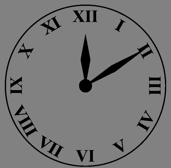 672x658 Drawn clock roman numeral