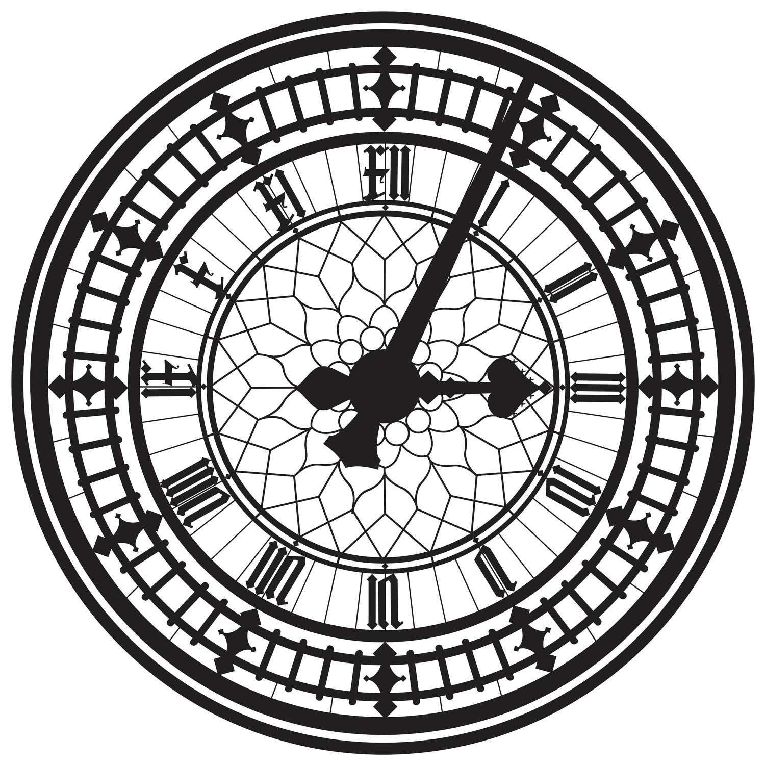 1500x1500 Drawn Clock Clock Face
