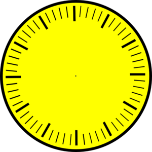 300x300 Clock Face (Yellow), Hour And Minute Marks, No Hands Clip Art