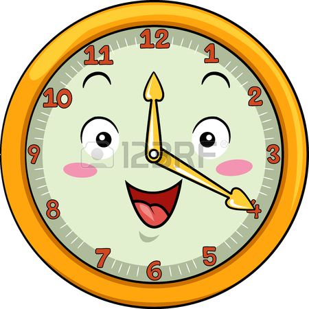 450x450 Mascot Illustration Of A Smiling Clock With Its Hands Pointing