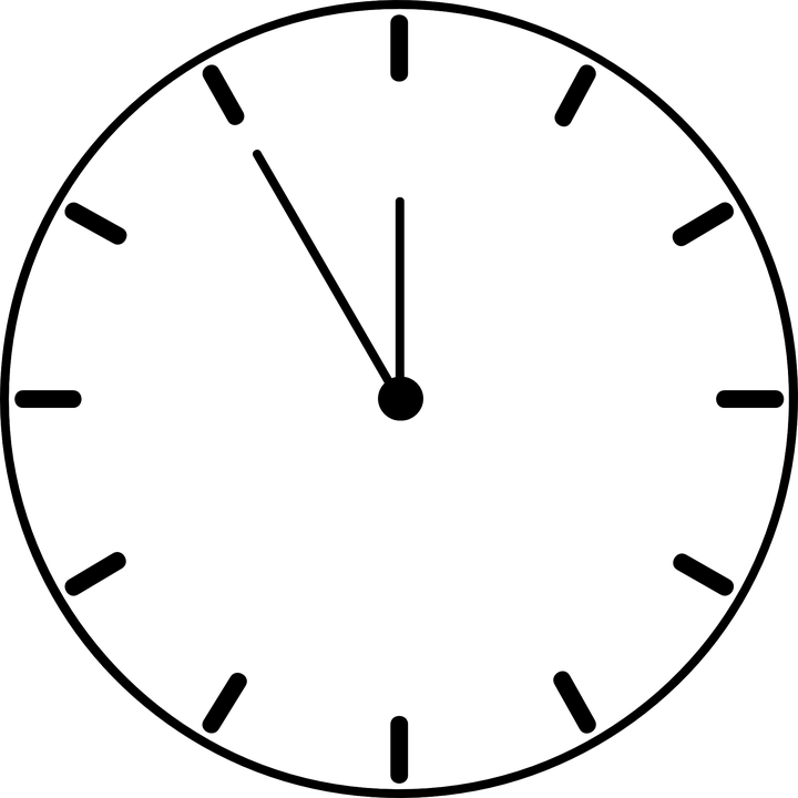 720x720 Clock Clipart Black And White Png