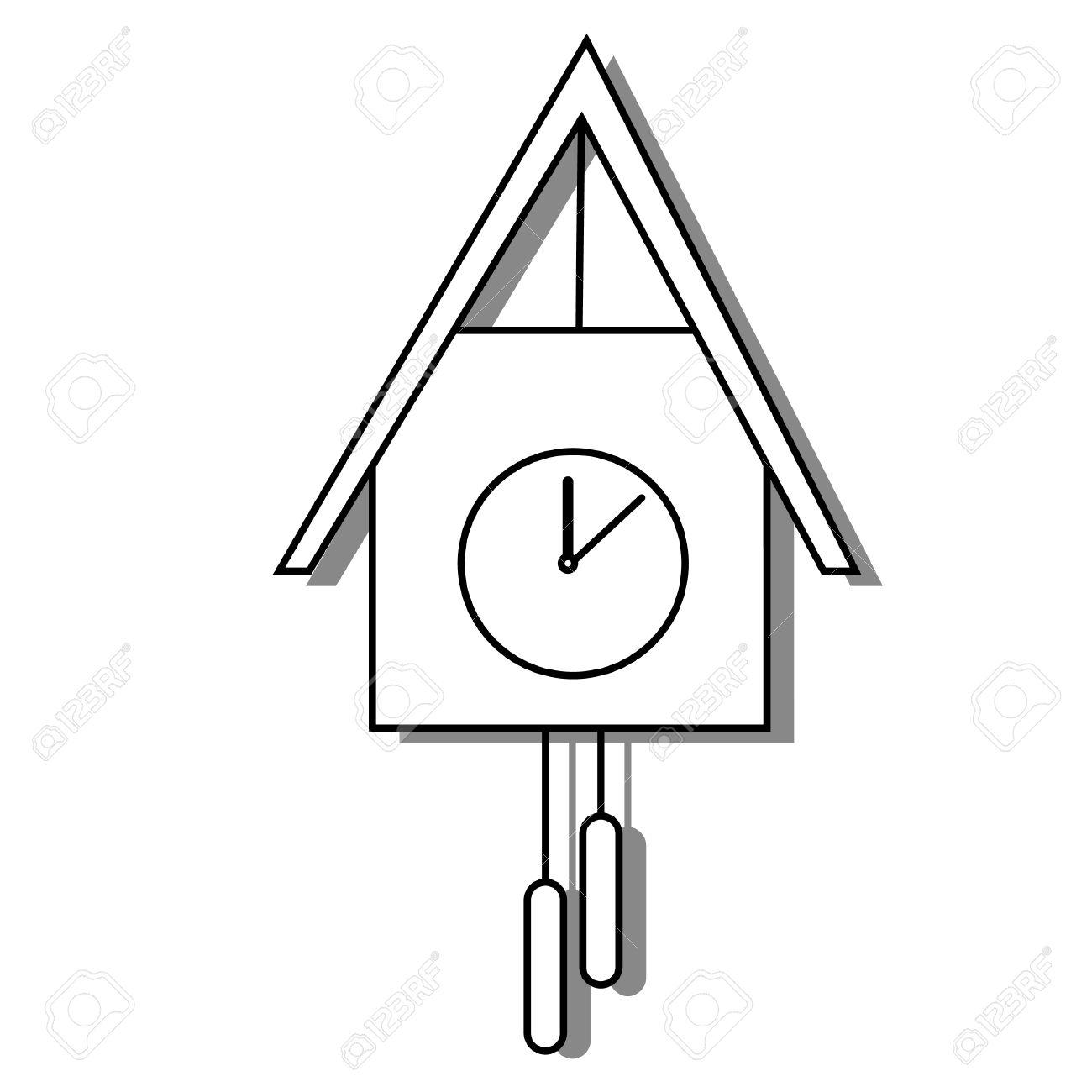 1300x1300 Cuckoo Clock Vector Outline Drawing, Bird Clock, Old Clock Royalty