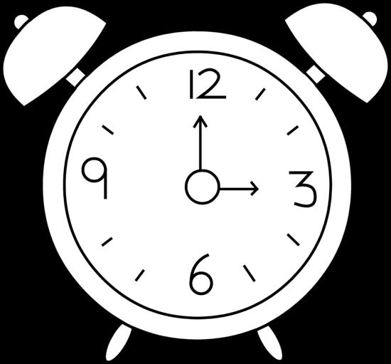 550x511 Alarm Clock Line Art