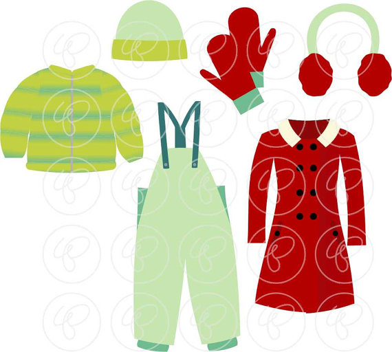 570x512 Winter Clothing Clipart Set Digital Scrapbook Clip Art Pack