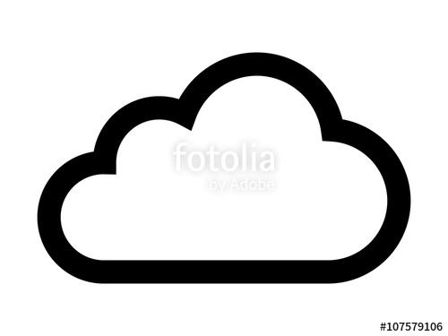 500x375 Cloud Drive Storage Or Cumulus Cloud Line Art Icon Stock Image