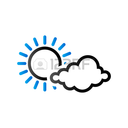 450x450 Weather Forecast Partly Sunny Icon In Color. Meteorology Overcast