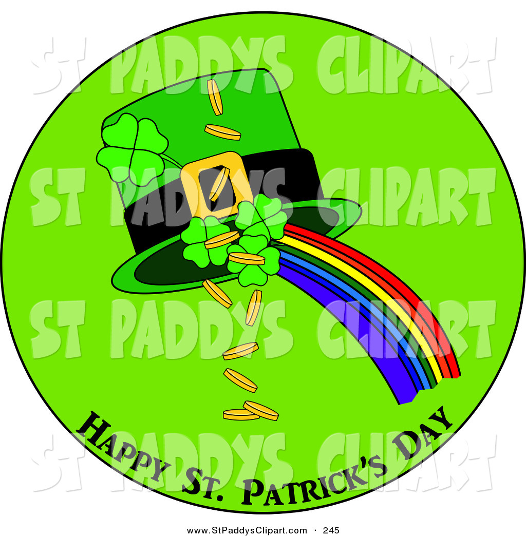1024x1044 Clip Art Of A Happy Saint Patrick's Day Greeting Of Clovers, Gold