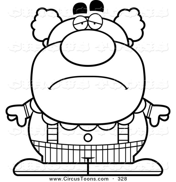 600x620 Circus Clipart Of A Black And White Depressed Pudgy Circus Clown