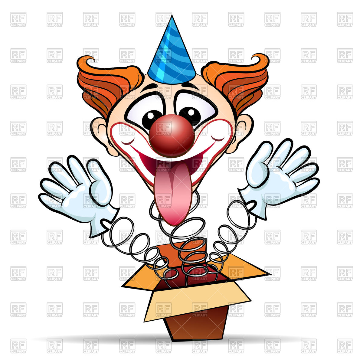 1200x1200 Funny Laugthing Clown Jumps Out Of Surprised Box Royalty Free