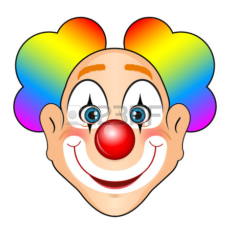 450x450 Illustration Of Smiling Clown With Colorful Hair Royalty Free