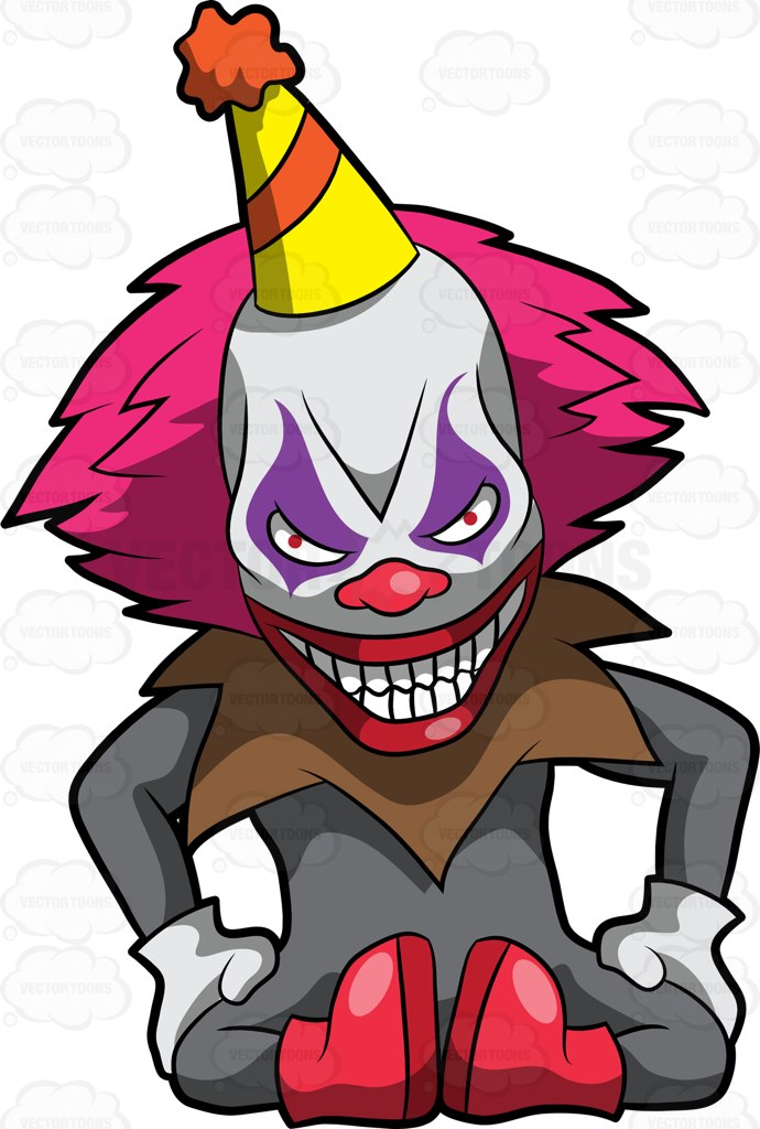 690x1024 A Creepy And Frightening Clown Sitting On The Floor Cartoon