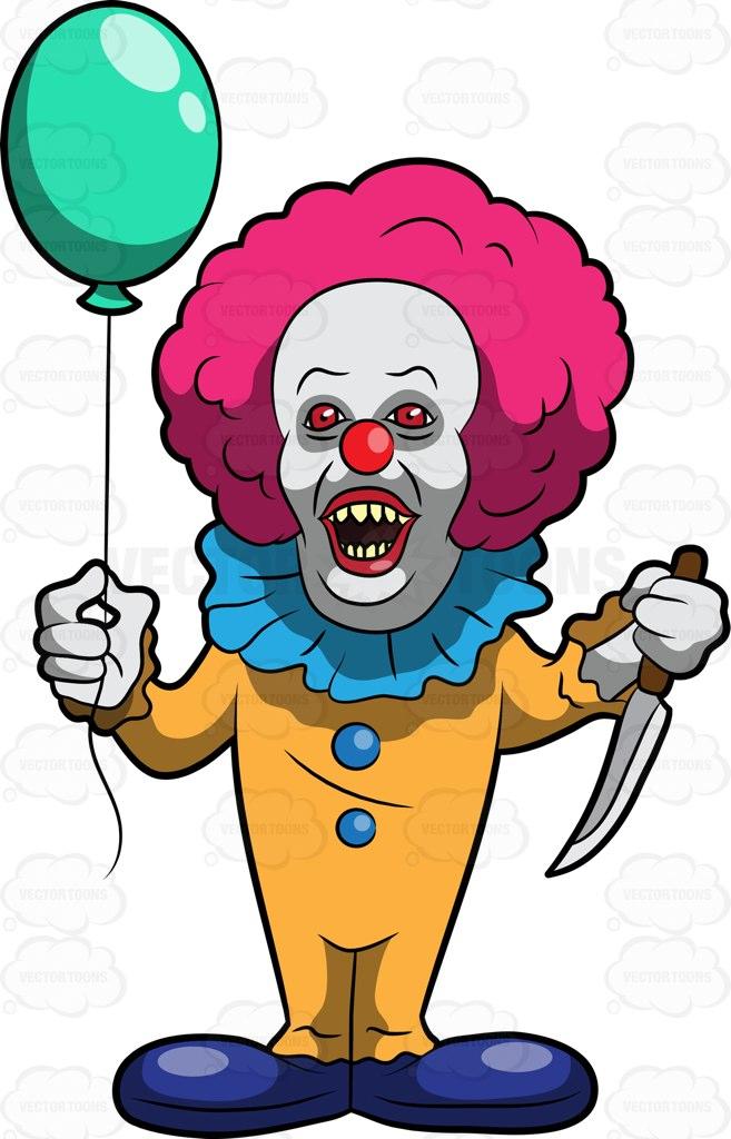 657x1024 A Scary Clown Killer Cartoon Clipart