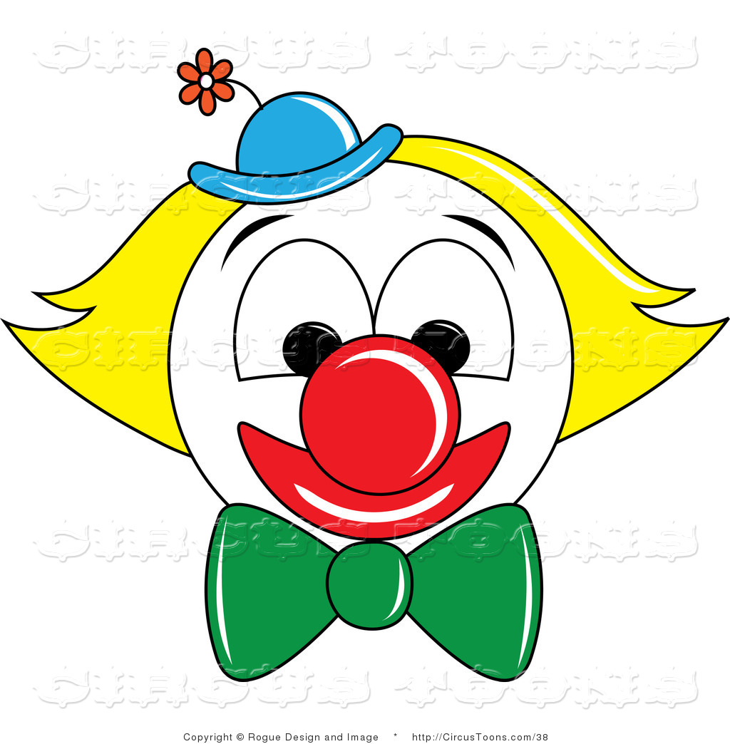 1024x1044 Circus Vector Clipart Of A Smiling Clown Face With Yellow Hair