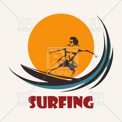 400x400 Surfer Rides On Long Board. Surfing Club Emblem. Royalty Free