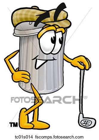 332x470 Clipart Of Trash Can With Golf Club Tc01s014