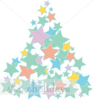 360x388 Christmas Tree Star Cluster In Pastels Christmas Tree Clipart