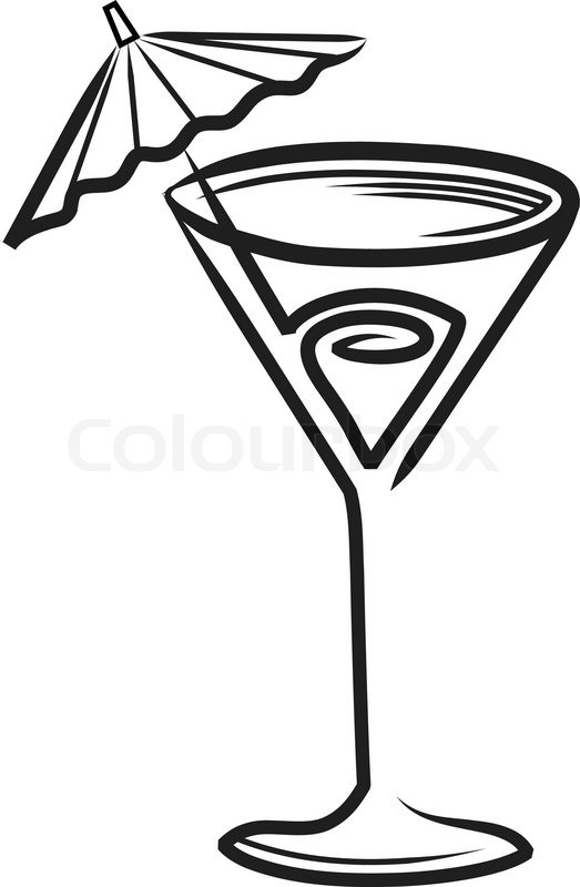 523x800 Cocktail Glass With Umbrella Clipart Stock Vector Colourbox