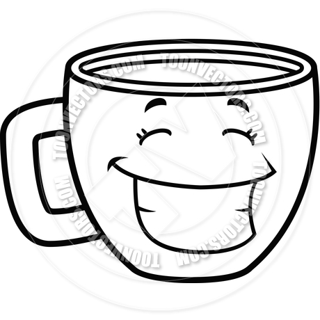 460x460 Coffee Cup Smiling (Black And White Line Art) By Cory Thoman