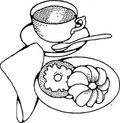 414x425 Croissant And Coffee Clip Art, Vector Croissant And Coffee