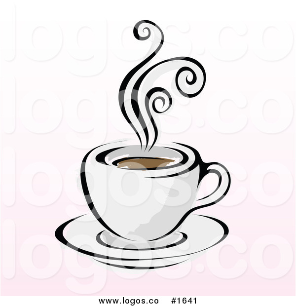 600x620 Royalty Free Vector Steaming Cup Of Coffee On A Pink And White By