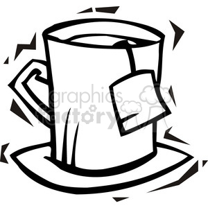 300x300 Royalty Free Black And White Image Of A Tea Cup 385721 Vector Clip