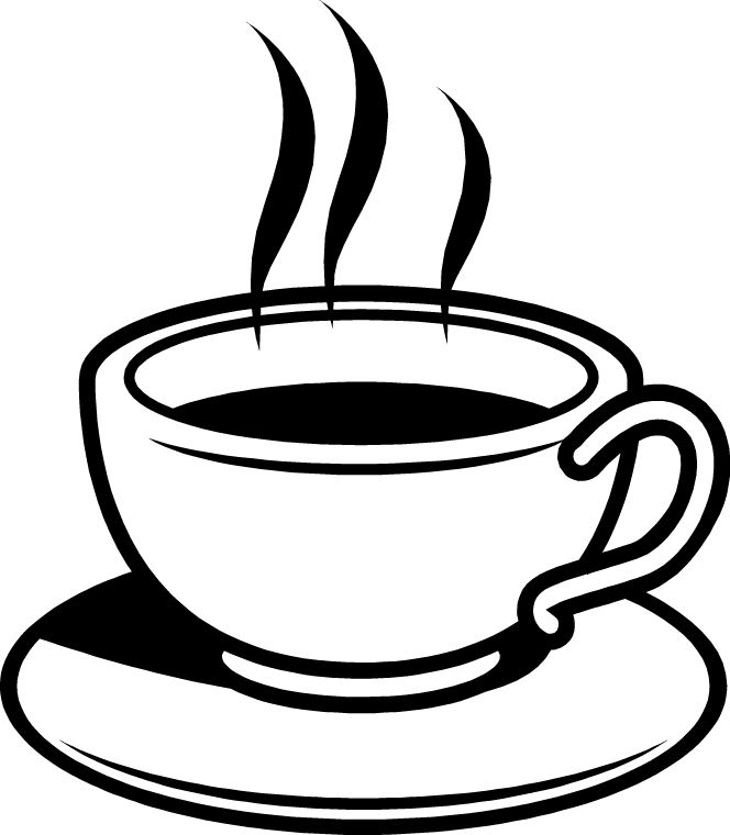664x760 Coffee Black And White Clip Art