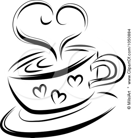 431x450 Coffee Cup Black And White Clipart