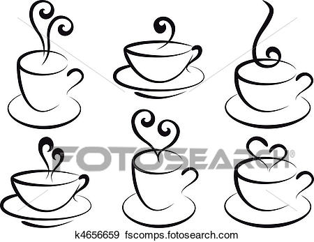 450x347 Clip Art Of Coffee And Tea Cups, Vector K4656659