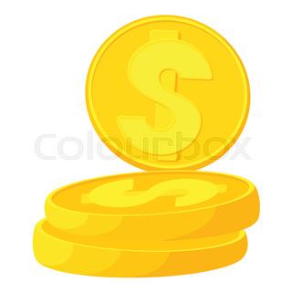 320x320 Vector Dollar Coins Rotation Animation Sprites Set Stock Vector
