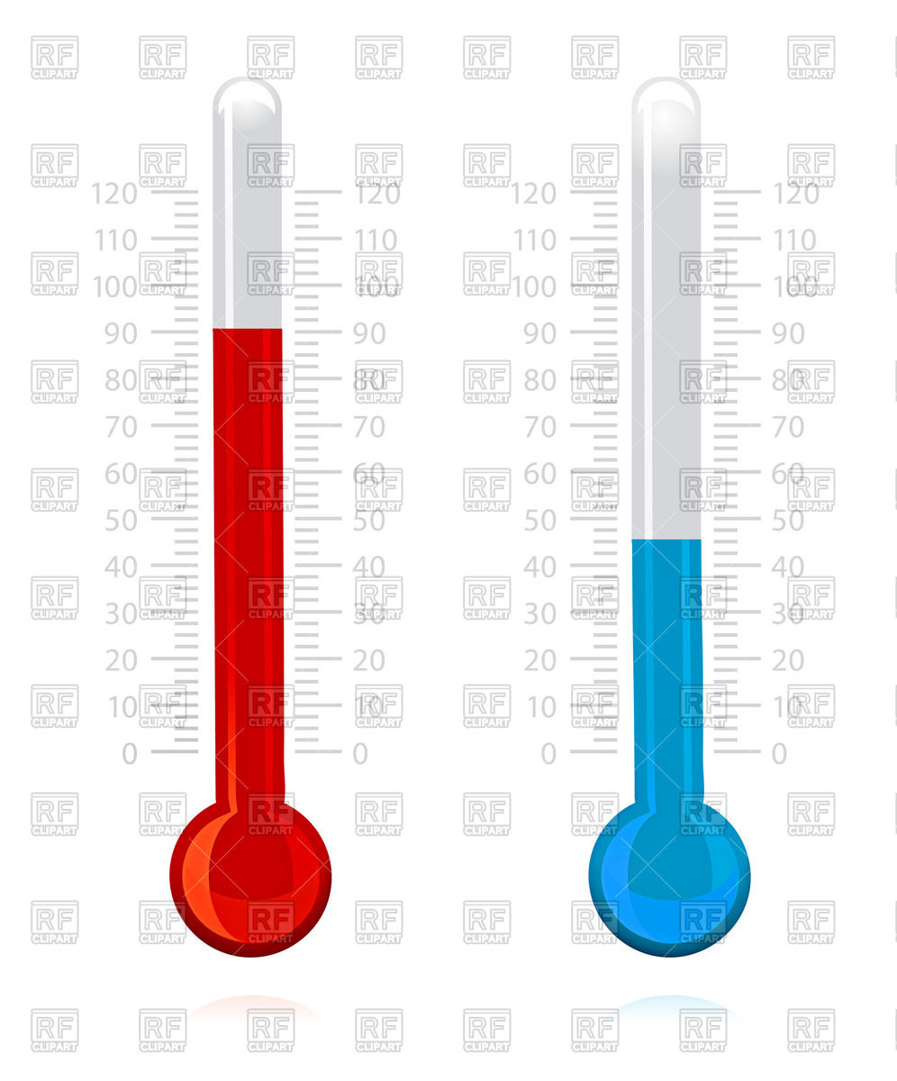 996x1200 Hot And Cold Thermometer Royalty Free Vector Clip Art Image
