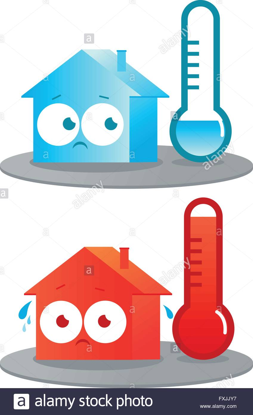 849x1390 A Very Hot And Cold Cartoon House. Thermometers Indicating Very