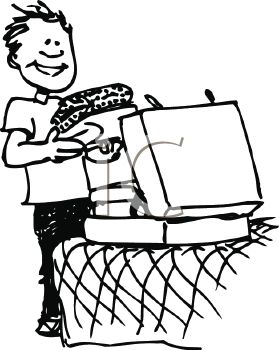 279x350 Royalty Free Clip Art Image Black And White Cartoon Of A Kid