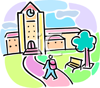 350x308 College Building Clipart