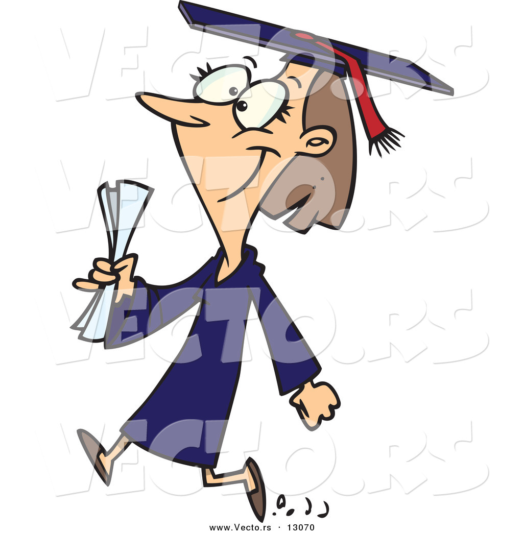 1024x1044 Vector Of A Happy Cartoon Female College Graduate Walking By