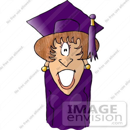 450x450 College Graduate Woman In Purple Gown, Cap And Tassle Clipart
