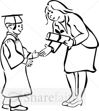347x388 Black And White Graduation Clipart