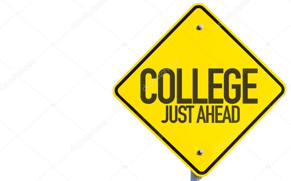 1023x635 College Just Ahead Sign Stock Photo Gustavofrazao