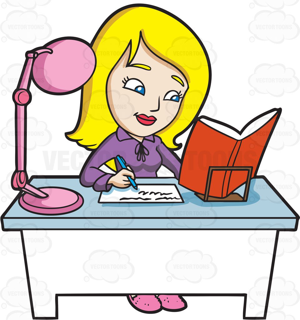 961x1024 A Young Woman Reading A Book And Taking Down Notes Cartoon Clipart