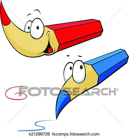 443x470 Clip Art Of Funny Colored Pencils Cartoon K21286728