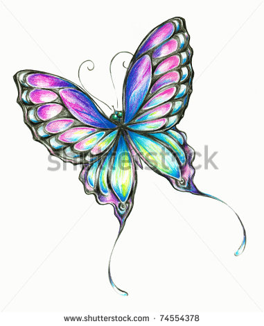 381x470 Colored Pencil Drawings Of Flowers With Butterfly Clipart