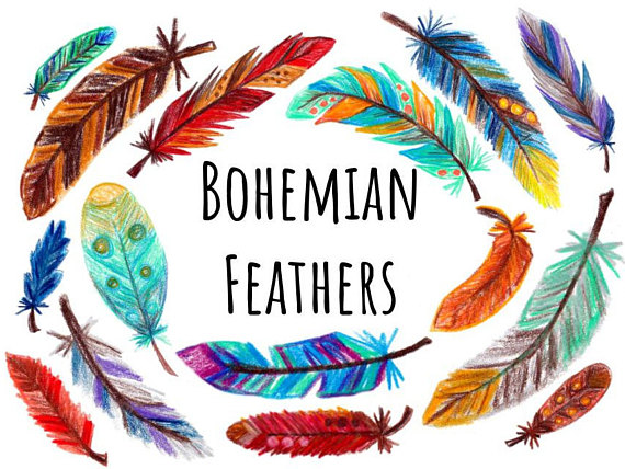 570x428 Hand Drawn Feather Clip Art, Feather Clipart With Color, Colored