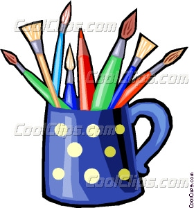 280x300 Colored Pencils And Paint Brushes Vector Clip Art