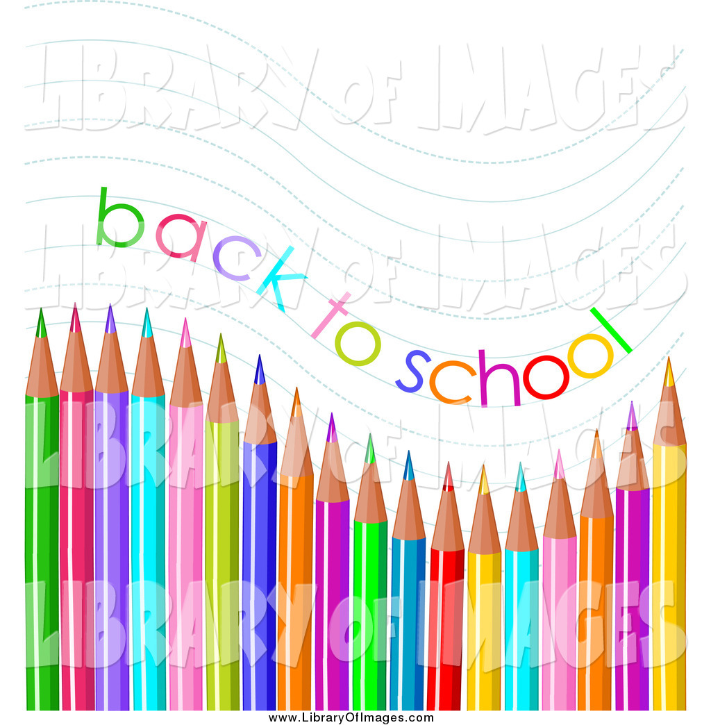 1024x1044 Clip Art Of A Back To School Text And Waves Over Colored Pencils